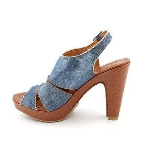 Lucky Brand Peggy Chambray Denim Chunky Heels